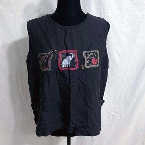 Large Erin London Black Animal Embroidered Top